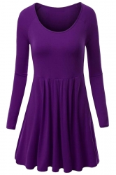 Womens Crewneck Ruched Long Sleeve Plain Skater Dress Purple
