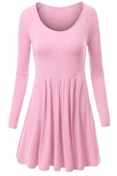 Womens Crewneck Ruched Long Sleeve Plain Skater Dress Pink