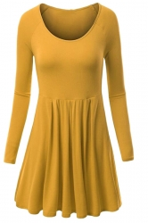 Womens Crewneck Ruched Long Sleeve Plain Skater Dress Yellow
