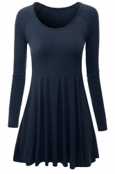 Womens Crewneck Ruched Long Sleeve Plain Skater Dress Navy Blue
