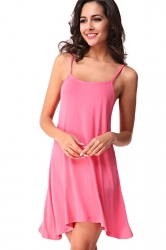 Womens Spaghetti Straps Plain Backless Smock Dress Pink