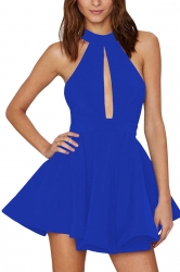 Womens Sheer Halter Strapless Cutout Plain Skater Dress Blue