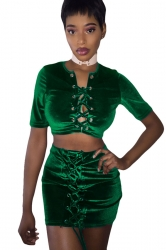 Womens Cross Keyhole Lace-up Short Sleeve Mini Skirt Suit Green