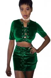 Womens Cross Keyhole Lace-up Short Sleeve Mini Skirt Suit Green