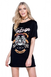 Womens Eagle Printed Crewneck Short Sleeve Mini Shirt Dress Black