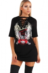 Womens Crewneck Short Sleeve Eagle Printed Mini Shirt Dress Black