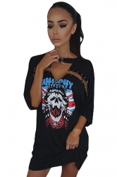 Womens Hollow Out Skull Printed Short Sleeve Mini Shirt Dress Black
