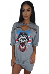 Womens Hollow Out Skull Printed Short Sleeve Mini Shirt Dress Gray