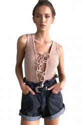 Womens Lace-up Plunging Neck Sleeveless Plain Bodysuit Pink