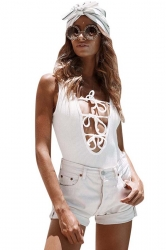 Womens Lace-up Plunging Neck Sleeveless Plain Bodysuit White