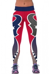 Womens Houston Texans Printed Ankle Length Sports Leggings Rose Red