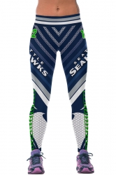 Womens SEAHAWKS Printed Ankle Length Sports Leggings Green