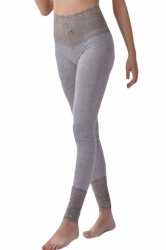 Womens Lace Patchwork High Waist Plain Leggings Gray