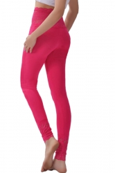 Womens Lace Patchwork High Waist Plain Leggings Rose Red