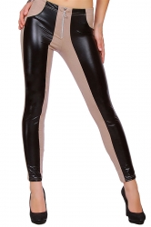Womens PU Leather Color Block Zipper Ankle-length Leggings Camel