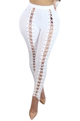 Womens High Waist Cross Lace-up Cutout Plain Leggings White