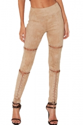 Womens Faux Suede Keyhole Cross Lace-up High Waist Leggings Apricot