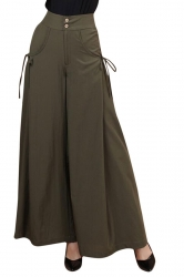 Womens High Waist Plain Leisure Palazzo Pants Army Green