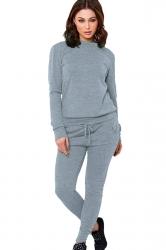 Womens Long Sleeve Drawstring-waist Leisure Pants Suit Light Gray