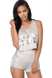 Womens Letter Printed Open Lace-up Sides 2PCS Shorts Suit Gray