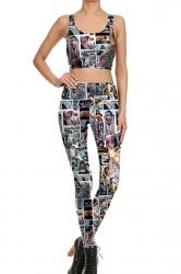 Womens Crop Tank Top&Comic Printed High Waist Pants Suit Turquoise