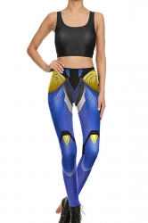 Womens Crop Tank Top&Armour Print High Waist Pants Suit Sapphire Blue