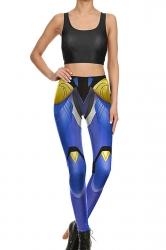 Womens Crop Tank Top&Armour Print High Waist Pants Suit Sapphire Blue