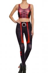 Womens Armour Printed Crop Top&High Waist Sports Pants Suit Black