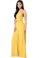Womens Plain Sleeveless Backless Top&Palazzo Pants Suit Yellow