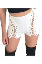Womens Keyhole Lace-up High Waist Mini Shirts White