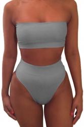 Womens Sexy Plain Bandeau Top&High Waist Bottom Bikini Set Gray