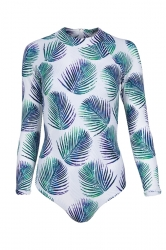 Womens Zip-up Leaf Printed Long Sleeve One Piece Swimsuit Turquoise
