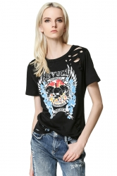 Womens Hollow Out Skull Printed Short Sleeve T Shirt Black