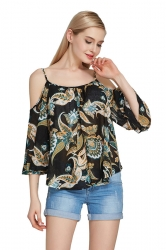 Womens Cold Shoulder Floral Printed Flare Sleeve Blouse Brown