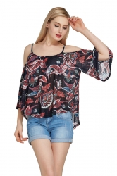 Womens Cold Shoulder Floral Printed Flare Sleeve Blouse Ruby