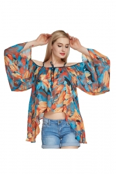 Womens Cold Shoulder Flare Sleeve Floral Asymmetric Blouse Blue