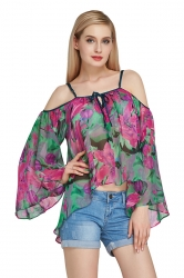 Womens Cold Shoulder Flare Sleeve Floral Asymmetric Blouse Green