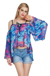 Womens Cold Shoulder Flare Sleeve Floral Asymmetric Blouse Rose Red