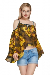 Womens Cold Shoulder Flare Sleeve Floral Asymmetric Blouse Yellow