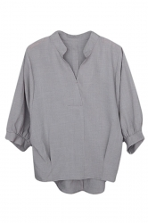 Womens V-neck 3/4 Length Sleeve Loose High Low Blouse Gray