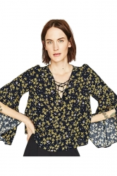 Womens V-neck Flower Printed Long Flare Sleeve Blouse Black