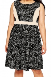 Womens Lace Patchwork Plus Size Sleeveless Midi Dress Beige White