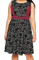 Womens Lace Patchwork Plus Size Sleeveless Midi Dress Dark Red