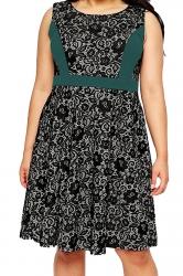 Womens Lace Patchwork Plus Size Sleeveless Midi Dress Green
