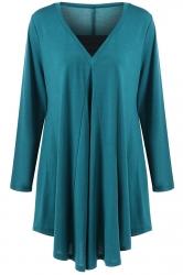 Womens Plus Size V Neck Asymmetric Long Sleeve Plain Dress Blue