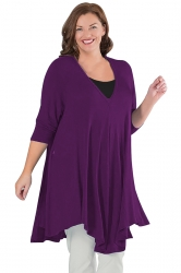Womens Plus Size V Neck Asymmetric Long Sleeve Plain Dress Purple