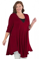 Womens Plus Size V Neck Asymmetric Long Sleeve Plain Dress Ruby