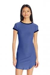 Womens Simple Short Sleeve Mini Shirt Dress Blue