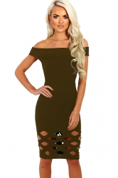 Womens Off Shoulder Cut Out Plain Bandage Midi Dress Army Green