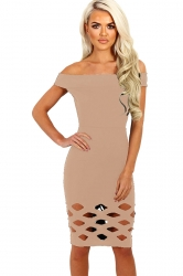 Womens Off Shoulder Cut Out Plain Bandage Midi Dress Apricot